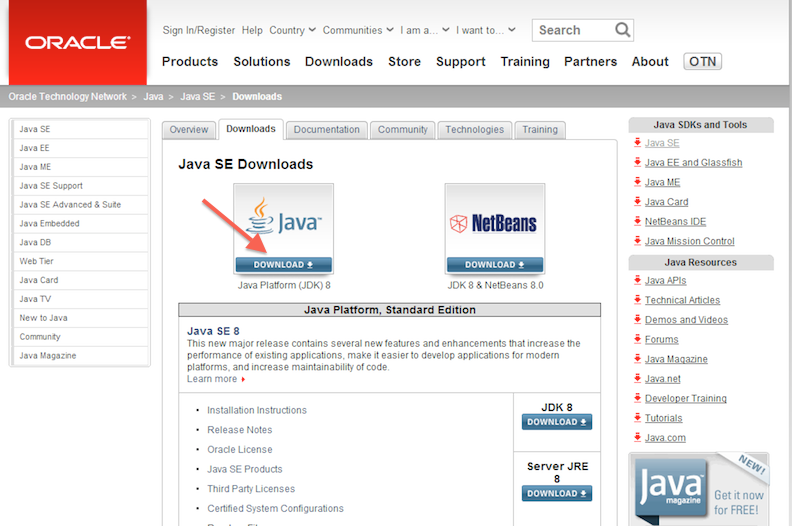 First page of Java download